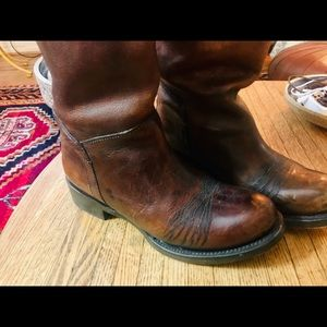 ASH distressed cognac leather back zip boots 37
